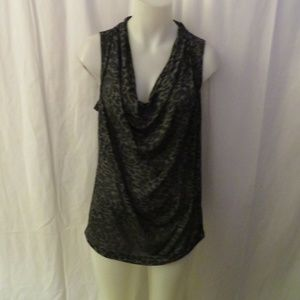 THEORY BLACK GRAY ANIMAL PRINT SLEEVELESS TOP L